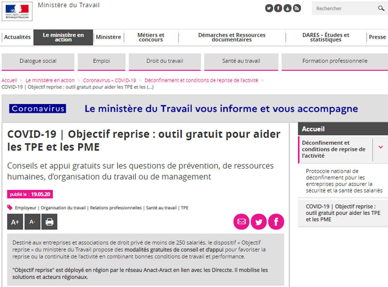 Ministère du Travail - COVID-19   📈Objectif reprise : outil gratuit pour aider les TPE et les PME