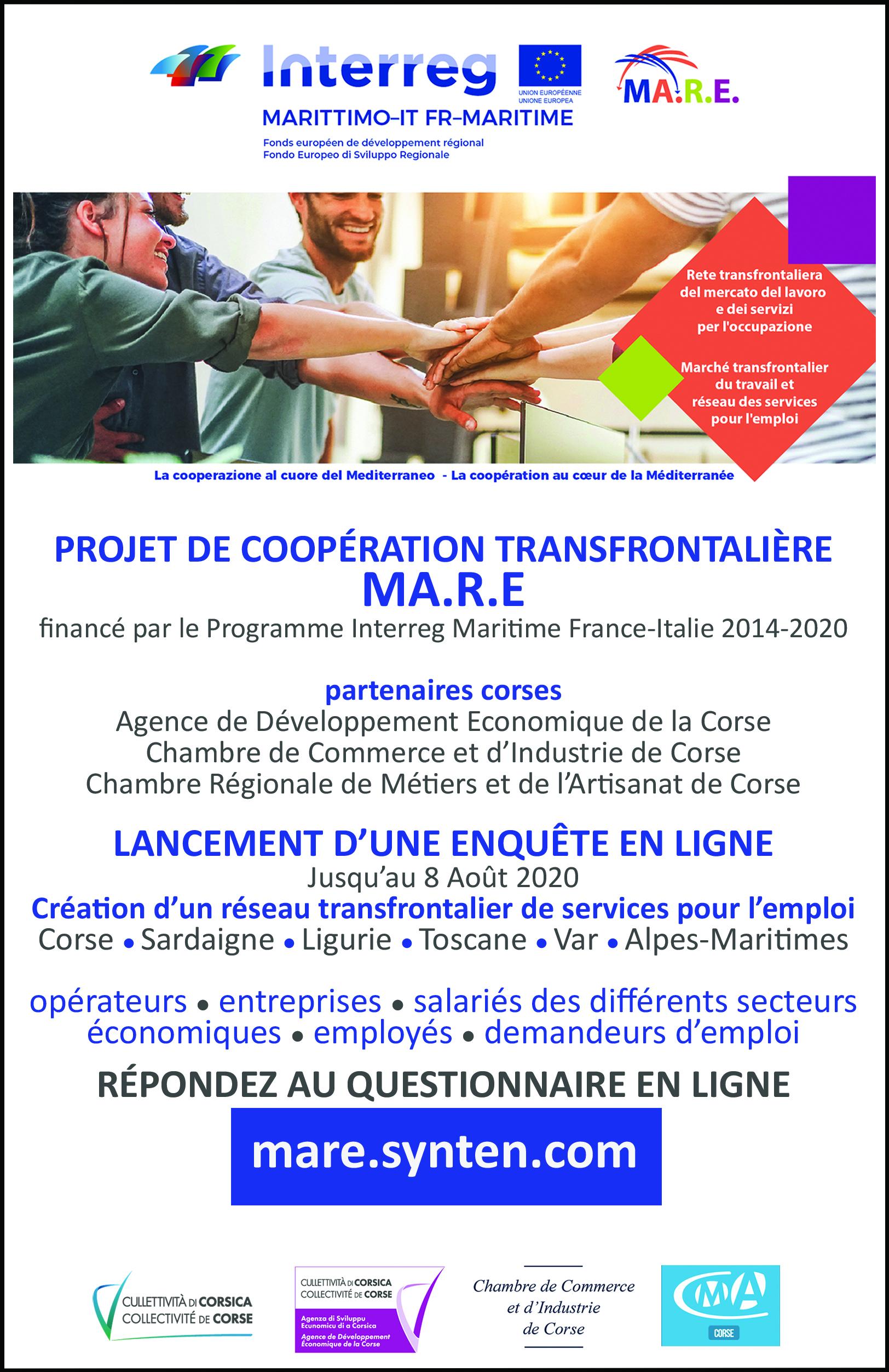 🌊PROJET DE COOPÉRATION TRANSFRONTALIÈRE MA.R.E ✍️ENQUÊTE EN LIGNE
