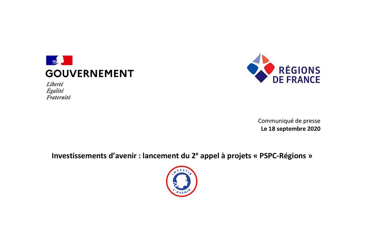 📄COMMUNIQUÉ DE PRESSE Investissements d'avenir : lancement du 2e appel à projets «PSPC-Régions»