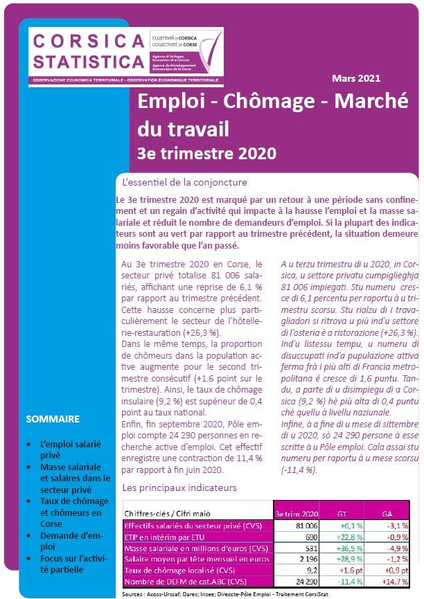 Emploi - Chômage - Marché du travail 3e trimestre 2020