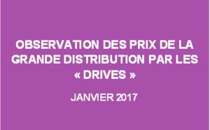 """Observation des prix de la grande distribution par les """"drives"""" - Janvier 2017"""