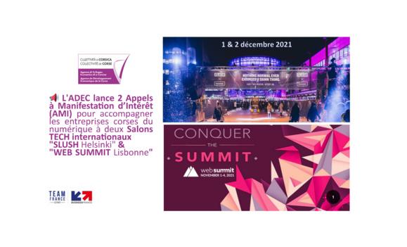 """📢 L'ADEC lance 2 Appels à Manifestation d'Intérêt (AMI) pour accompagner les entreprises corses du numérique à deux Salons TECH internationaux """"SLUSH Helsinki"""" & """"WEB SUMMIT Lisbonne"""" !"""