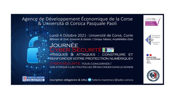 ⚡️ADEC & Università di Corsica Pasquale Paoli 🔐Conférence CYBER SÉCURITÉ « Risques & attaques : construire et renforcer votre protection numérique »  Lundi 4 Octobre, Corte
