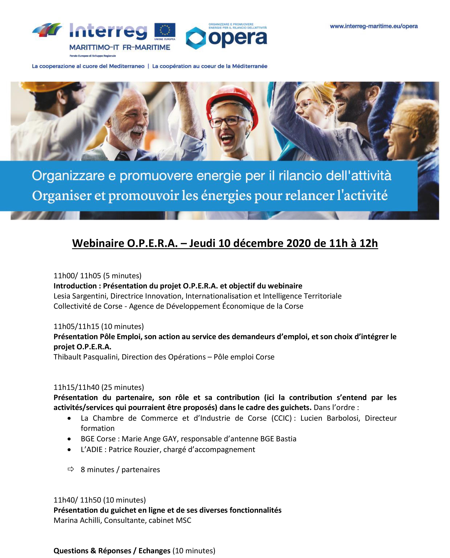 🔎Vous cherchez un emploi et souhaitez découvrir les services du guichet O.P.E.R.A.⏰Jeudi 1️⃣0️⃣ Décembre de 11h à 12h 👉Participez au webinaire organisé par l'ADEC en partenariat avec Pôle emploi Corse ✍️INSCRIPTION⬇️