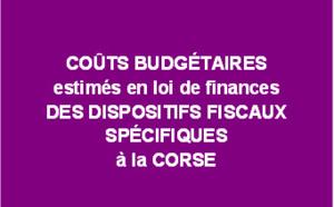 Coûts budgétaires estimés en loi de finances des dispositifs fiscaux spécifiques à la Corse