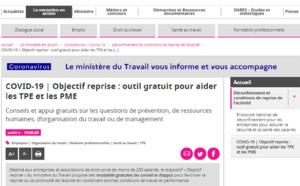 Ministère du Travail - COVID-19 | 📈Objectif reprise : outil gratuit pour aider les TPE et les PME